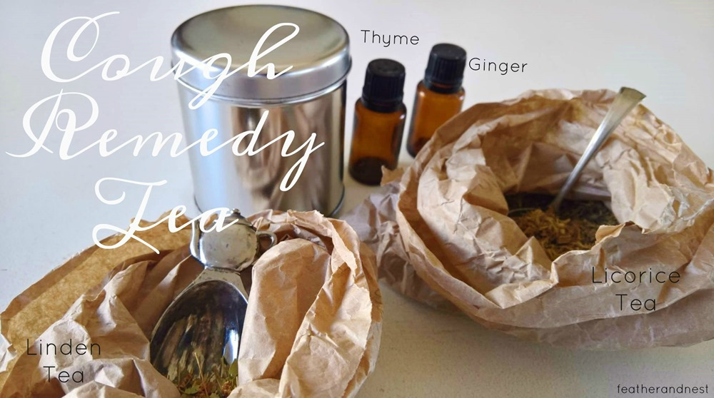 cough remedy tea with thyme and ginger oil